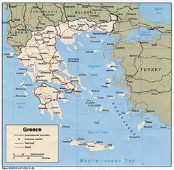 Political map of Greece with cities.