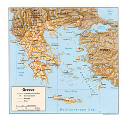 Political map of Greece with relief.