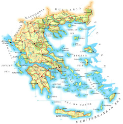 Road map of Greece with cities and airports.