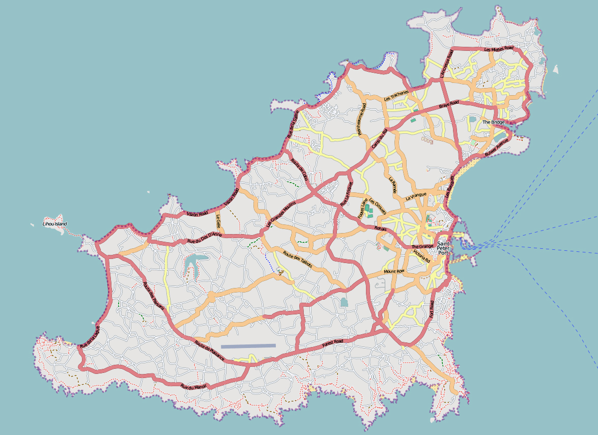 Maps of Guernsey Detailed map of Guernsey in English Tourist map