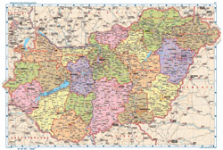 Large political and administrative map of Hungary with all cities, villages, roads, highways and airports.