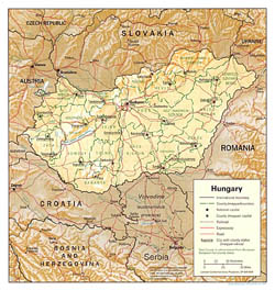Political and administrative map of Hungary with relief.