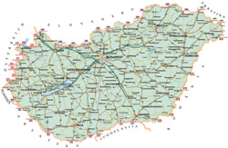 Road map of Hungary.