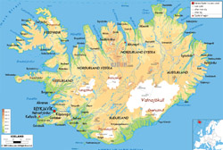 Detailed physical map of Iceland with roads, cities and airports.