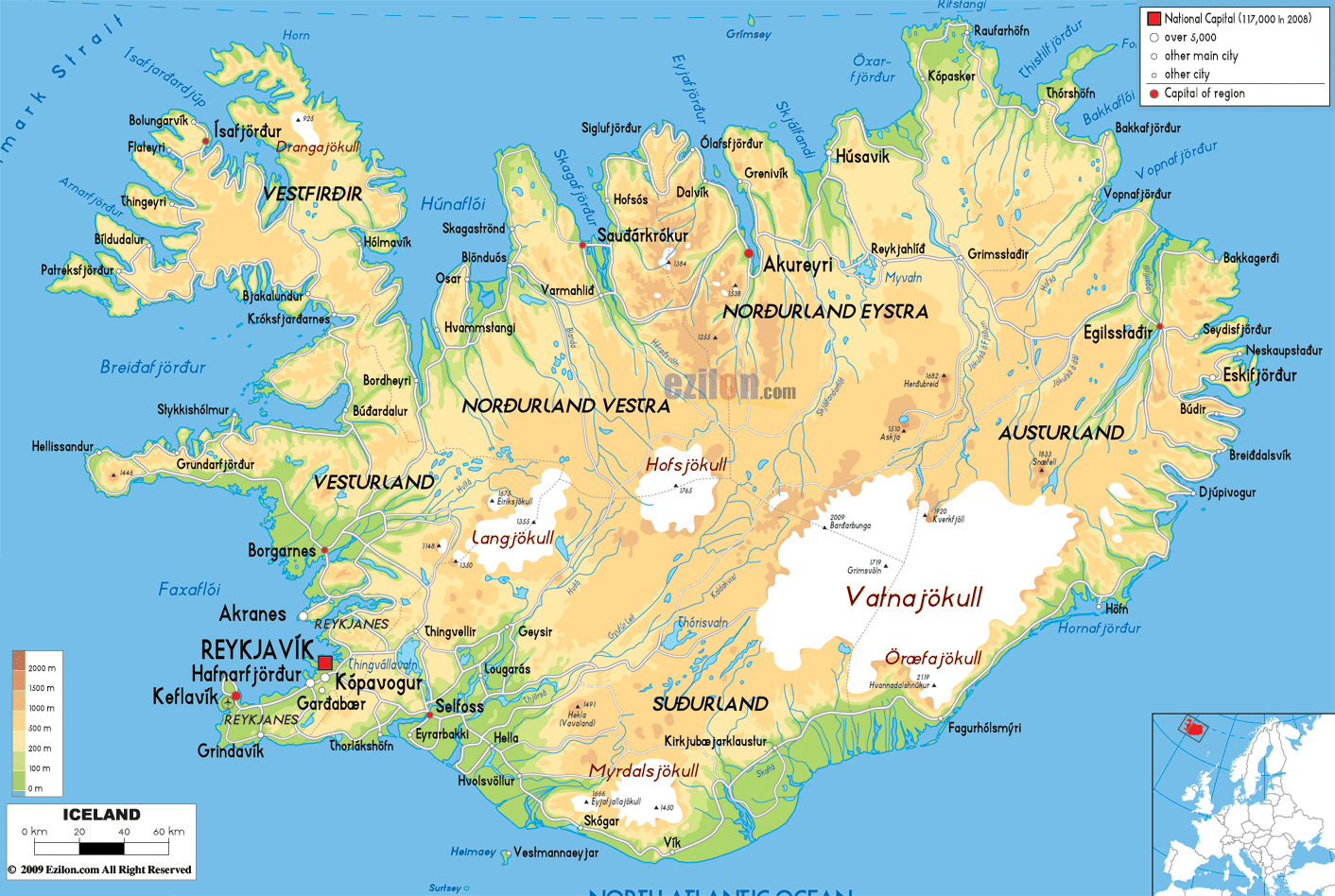 Maps of Iceland | Detailed map of Iceland in English |Tourist map of ...