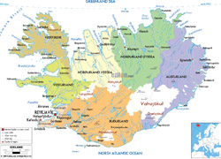Detailed political and administrative map of Iceland with roads, cities and airports.