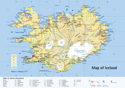 Detailed road and physical map of Iceland.