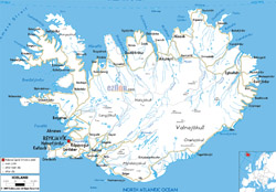 Detailed road map of Iceland with cities and airports.