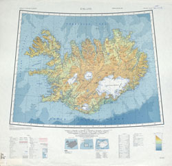 Detailed topographical map of Iceland.
