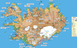 Detailed tourist map of Iceland.