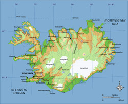 Elevation map of Iceland with roads.