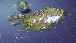 Panoramic map of Iceland.