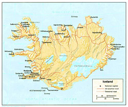 Political map of Iceland with relief.