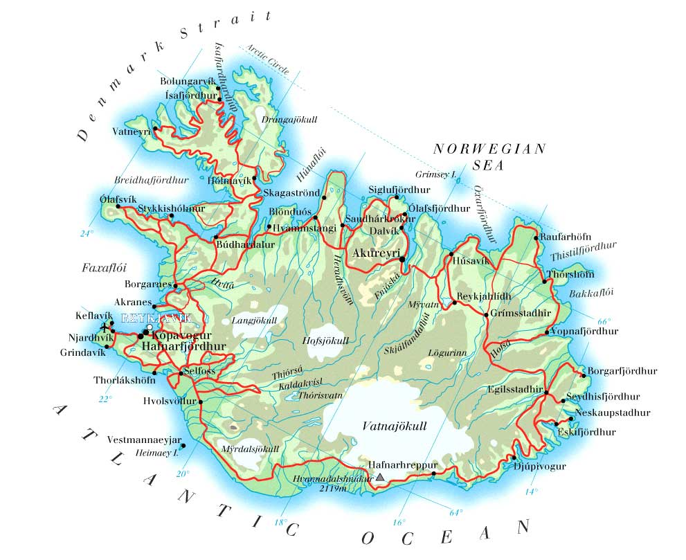 Maps of Iceland Detailed map of Iceland in English – Iceland Tourist Map