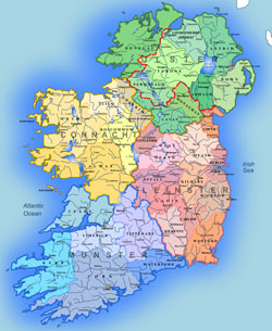 Administrative map of Ireland.