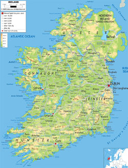 Detailed physical map of Ireland with cities, roads and airports.