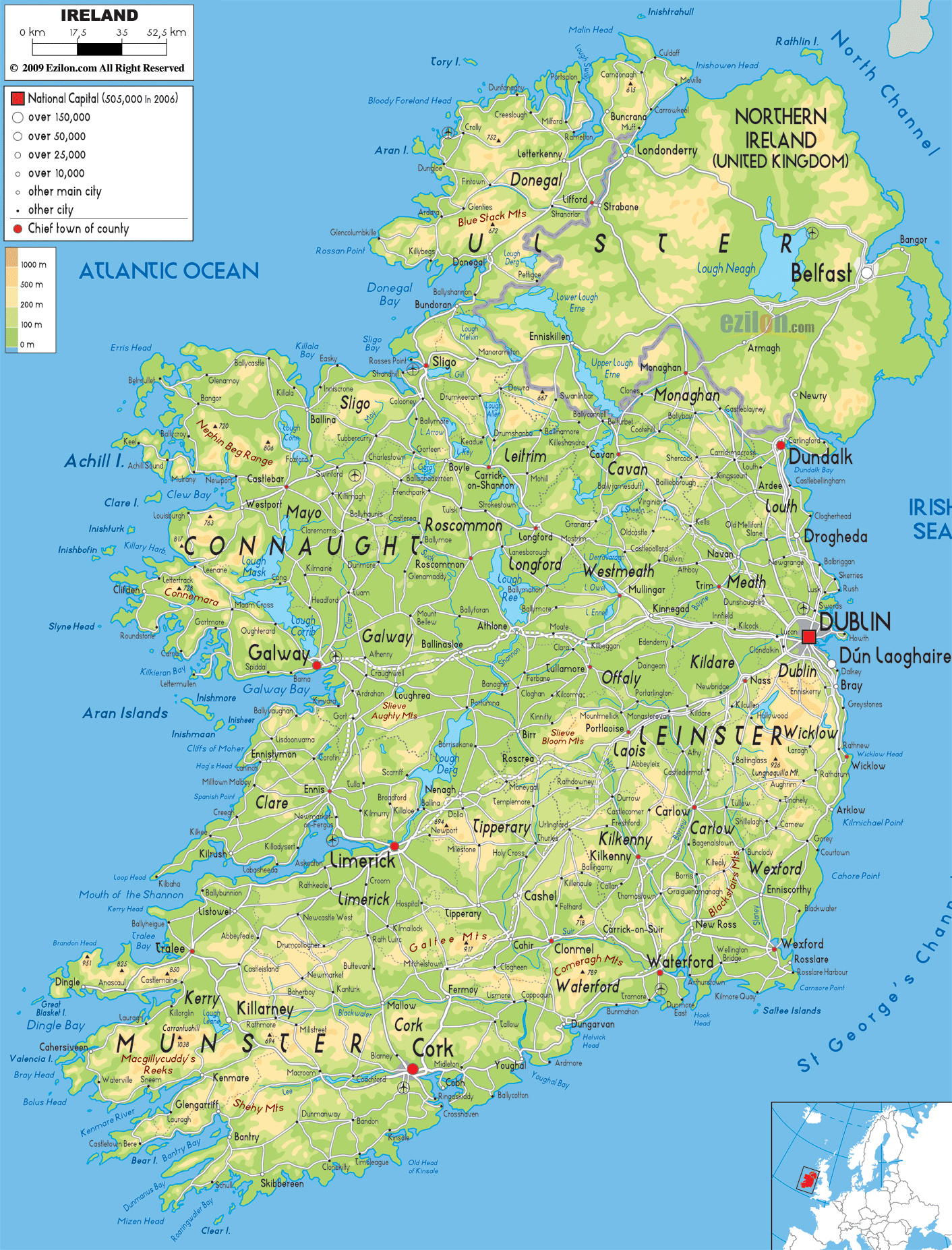 Ireland City Map Map of Ireland With Cities