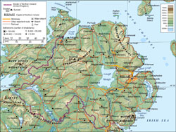 Detailed physical map of Northern Ireland.