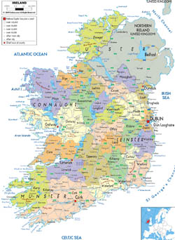Detailed political and administrative map of Ireland with cities, roads and airports.