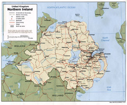 Detailed political and administrative map of Northern Ireland.