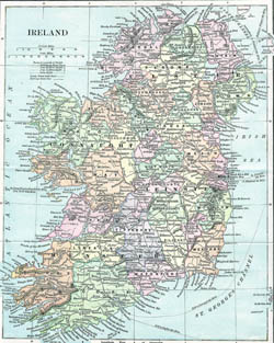 Old map of Ireland.