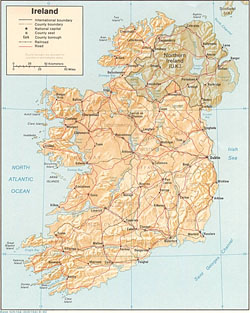 Political and administrative map of Ireland with relief.