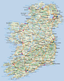 Road map of Ireland with cities and airports.