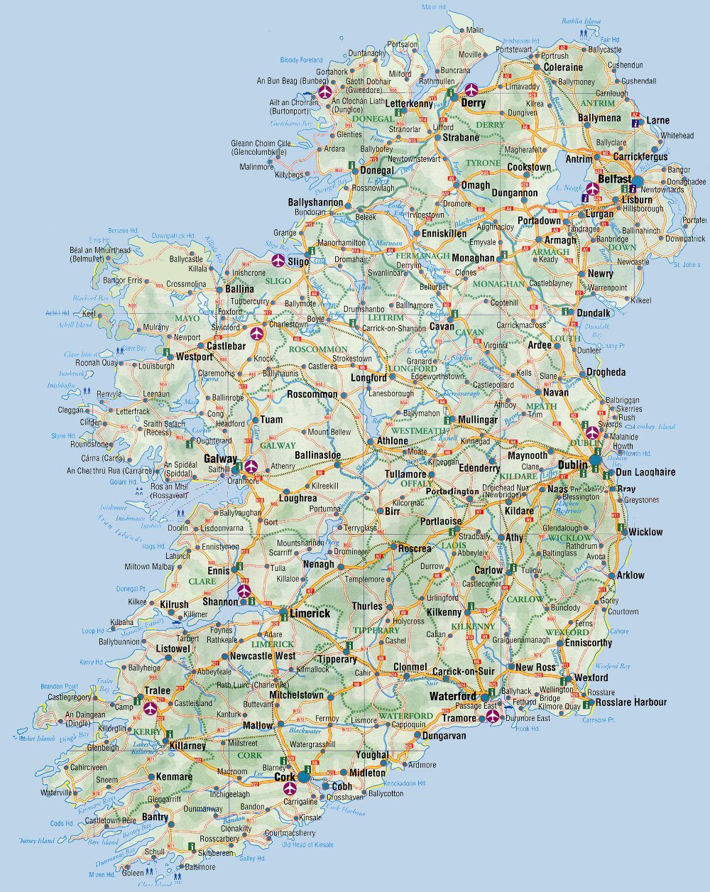 Maps Of Ireland Detailed Map Of Ireland In English