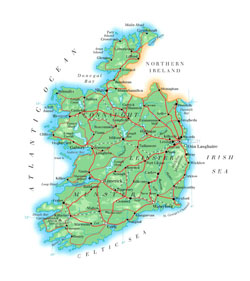 Road map of Ireland with cities.