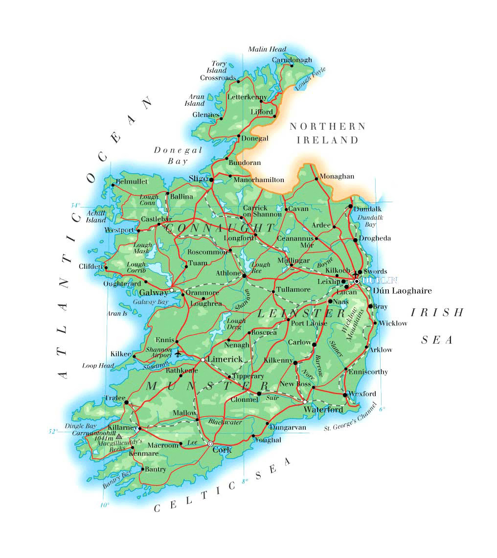 It's just a picture of Gorgeous Printable Road Map of Ireland