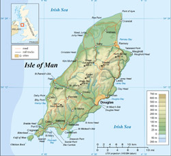 Detailed physical map of Isle of Man with roads and cities.