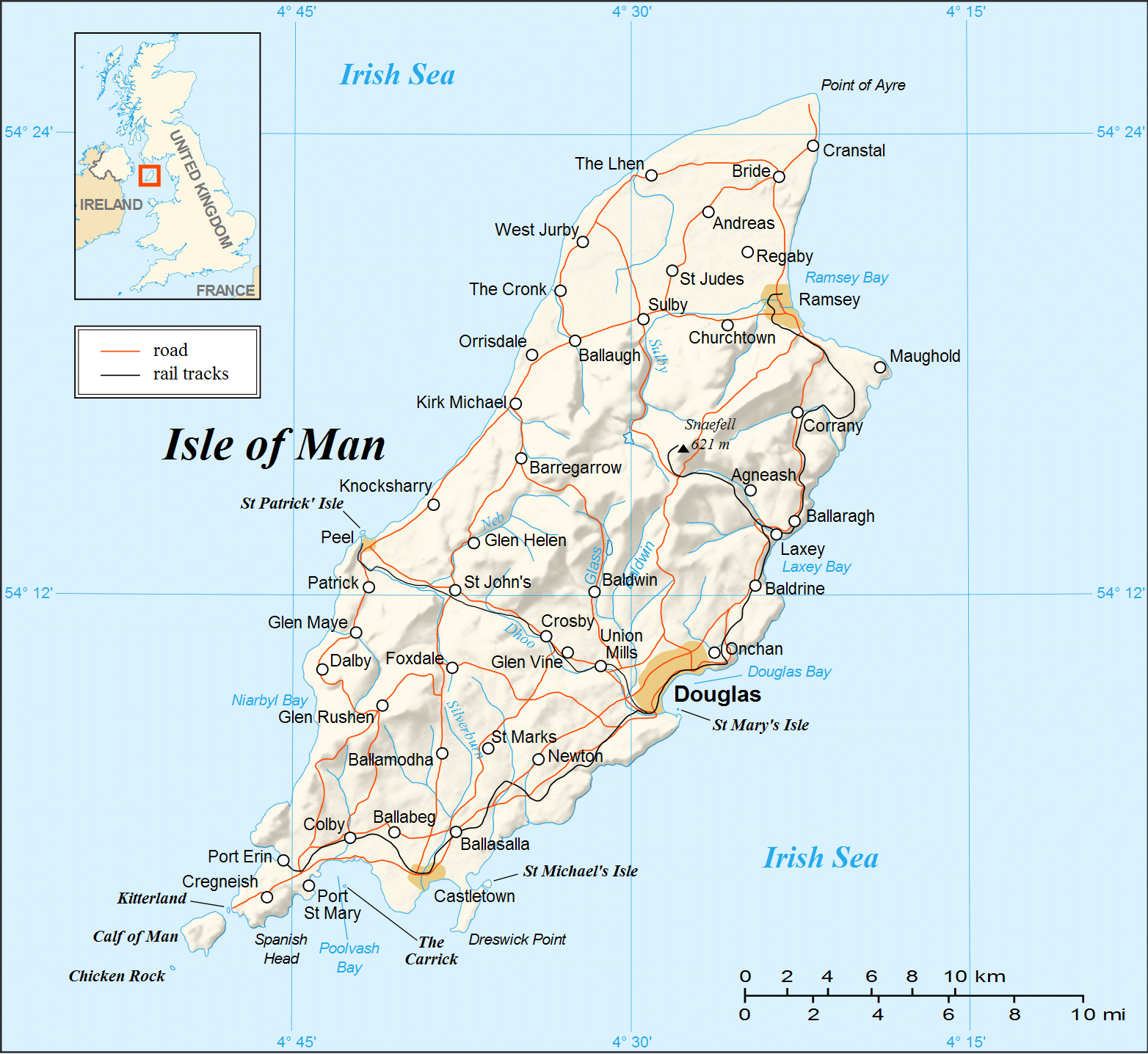 Maps of Isle of Man Detailed map of Isle of Man in English