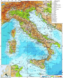 Detailed physical map of Italy in Russian.