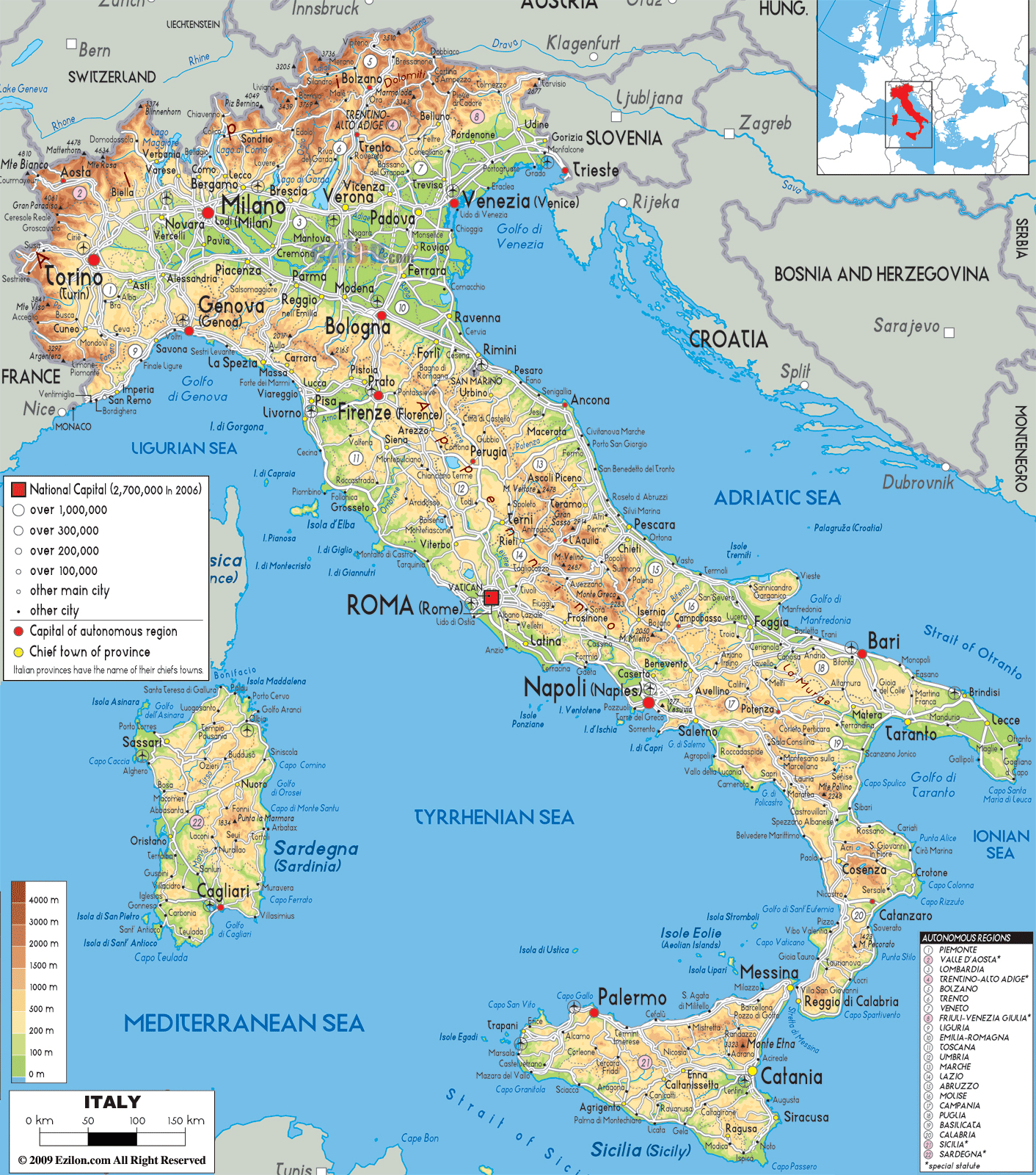 Detailed Physical Map Of Italy With Cities Roads And Airports