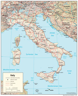 Detailed political map of Italy with relief, cities and roads.