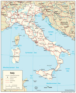 Detailed political map of Italy with roads and cities.