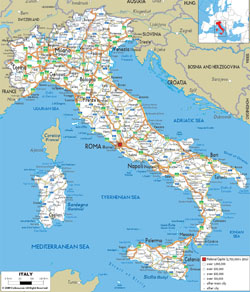 Detailed road map of Italy with cities and airports.