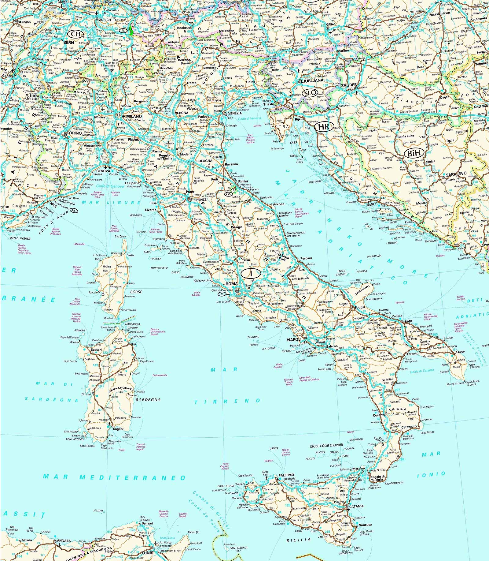Maps of Italy Detailed map of Italy in English – Travel Map Of Europe With Cities