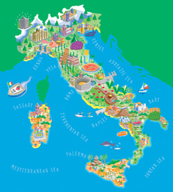 Illustrated tourist map of Italy.
