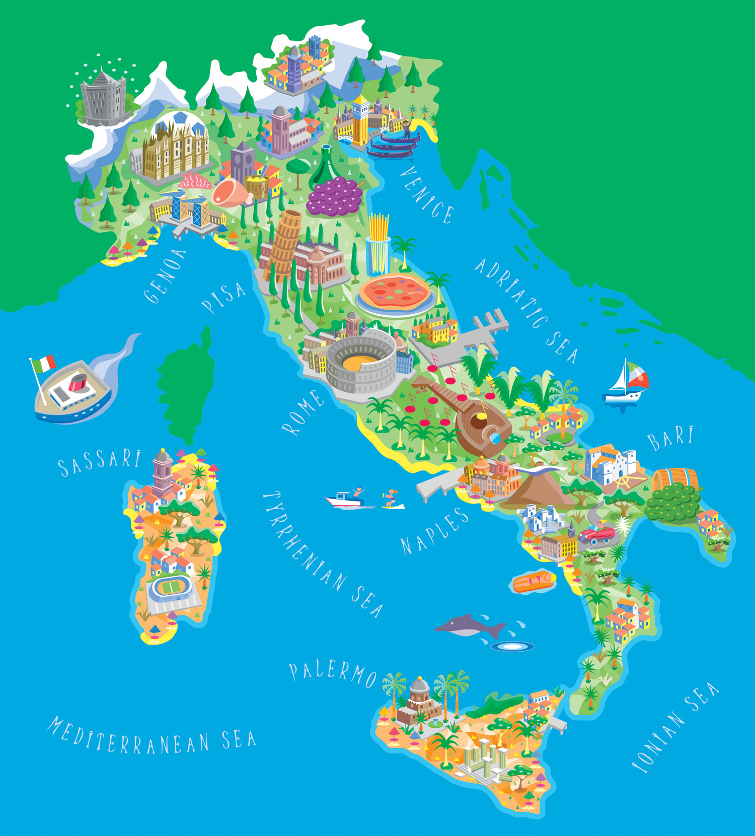 illustrated tourist map of italy. maps of italy  detailed map of italy in english  tourist map of