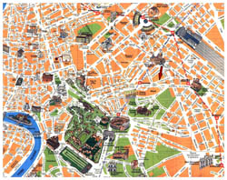 Detailed tourist map of Rome city center.