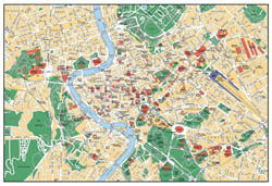 Detailed tourist map of Rome city.
