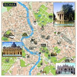 Tourist map of Rome city.