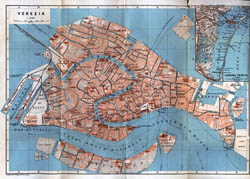 Large old map of Venice city - 1913.