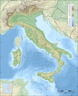 Physical map of Italy.