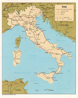 Political map of Italy.