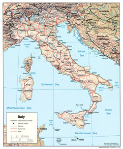 Political map of Italy with relief, cities and roads.