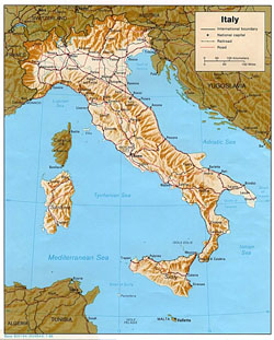 Political map of Italy with relief.