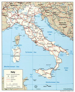Political map of Italy with roads and cities.