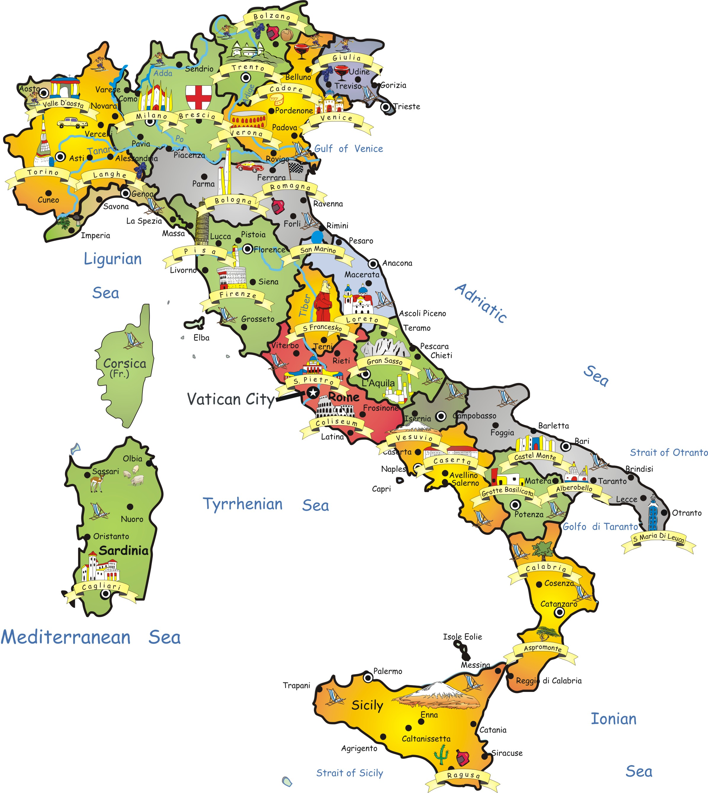 Maps of Italy Detailed map of Italy in English – Europe Travel Maps